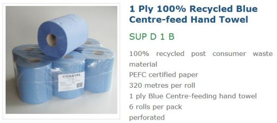 Coastal 1ply recycled blue centre feed hand towel SUP D 1 B, blue centre feed hand towels, blue hand towels
