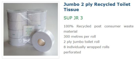 Coastal 2ply 300M Recycled Jumbo Roll SUP JR3