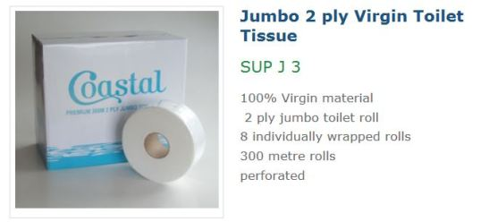 Coastal 2ply 300M Vigin Jumbo Roll SUP J 3