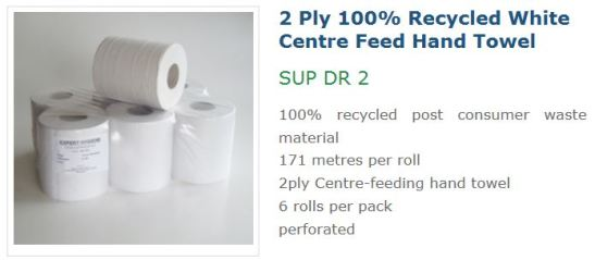 Coastal 2ply white recycled centre feed hand towel SUP DR 2, recycled 2ply centre feed hand towels