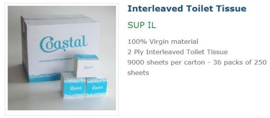 Coastal Interleaved Toilet Tissue SUP IL