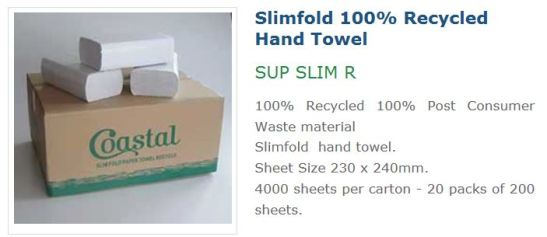 Coastal recycled slimfold hand towel SUP SLIM R, recycled hand towels slimline, slimline eco hand towels