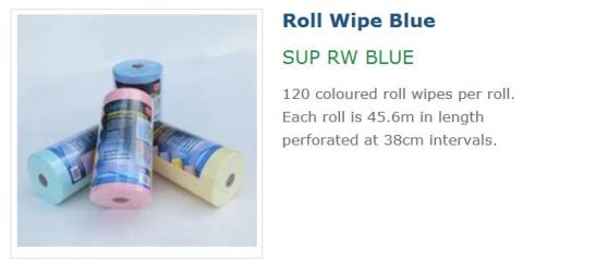 Coastal Roll Wipes Blue Red Green Yellow SUP RW BLUE, chux wipe, blue chux wipe, wavy roll wipe