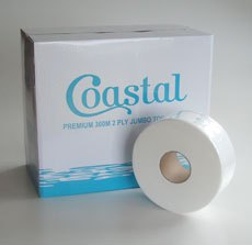 Coastal Jumbo 300m 2 ply Virgin, 8 rolls per carton