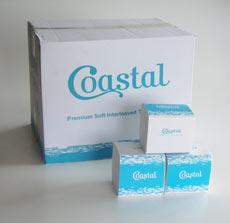 Coastal white interleaved toile tissue,