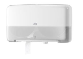 tork twin mini jumbo toilet roll dispenser white
