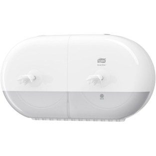 Tork 682000, tork SmartOne twin mini toilet dispenser white, tork SmartOne twin mini toilet paper dispenser T9