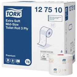Tork 127510, tork extra soft mid-size toilet roll, Tork T6 Refills, tork mid-size toilet paper premium