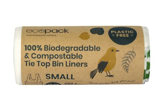 Compostable and Biodegradable tie top Bin Liner 18L small