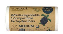 Biodegradable & Compostable Tie Top Bin Liners 27L medium