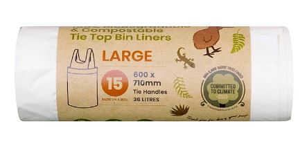 Biodegradable & Compostable Tie top Bin Liners 36L Large