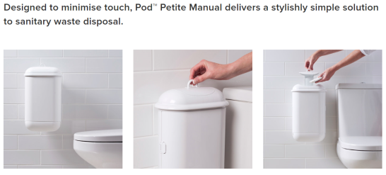 pod petite, pod petite auto, pod petite manual, pod petite distributor nz, sanipod, ladycare