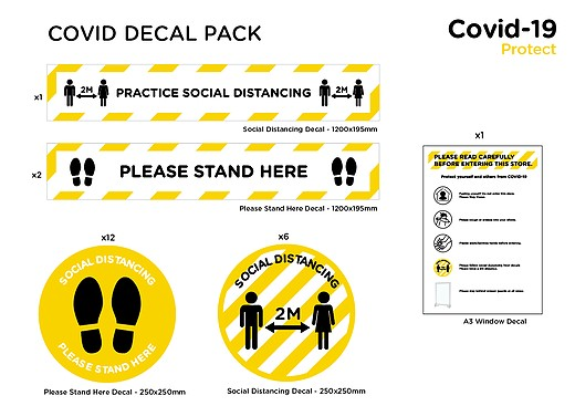 covid stickers, covid warning stickers