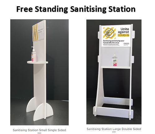 free standing hand sanitising station, hand sanitiser station